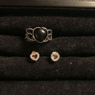 Authentic pandora ring and earrings