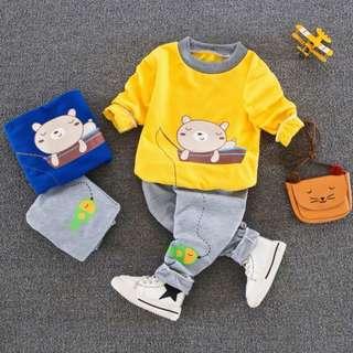 Bear Design Unisex Top With Long Pant Pyjamas & Casual Wear
