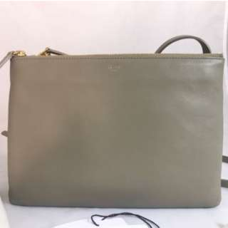 CELINE Taupe Leather Trio Crossbody Handbag large