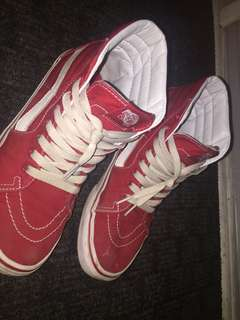 Vans sk8 hi red and white