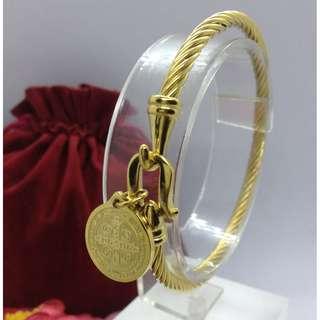 Authentic Bangkok Gold 10k Saudi Gold Keep The Faith Bracelet Bangle Row Wire Holy Cross Religious Bangle Gold Unisex Bracelet Non Tarnish (Not Pawnable)