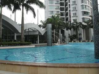 Condo common room with full facilities and pool view
