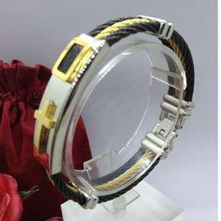 Authentic Bangkok Gold 10k Saudi Gold Keep The Faith Bracelet Bangle Three Row Wire Holy Cross Religious Bangle Gold Unisex Bracelet Non Tarnish (Not Pawnable)