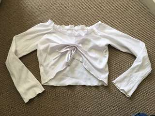 White Ruffle Tie Long Sleeve Off Shoulder Crop Top