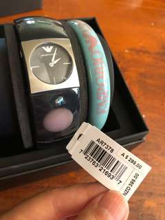 LADIES EMPORIO ARMANI WATCH AND BANGLE SET