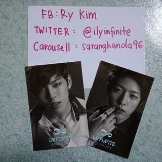 CLEARANCE SALE. INFINITE DONGWOO AND SUNGYEOL MAN IN LOVE PHOTOCARDS. PRICE INCLUDE POSTAGE. READ DETAILS PLEASE.