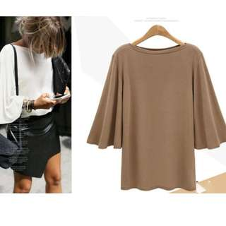 Plus Size Crew Neck Solid Flare Sleeve Shirt