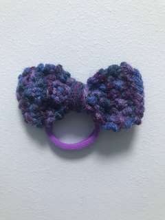 Handmade Multi Color of Mixture of Purple Shades Bow Hair Tie