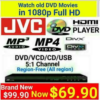 Brand New] All-in -One FULL HD DVD PLAYER ( up to 1080P resolution via HDMI)  REGION-FREE- plays all region DVD movies+ 5 .1 Audio Channel +  VCD, CD, MP3 (DivX) player. Usual$99.90 Special $69.90.(Brand New in Box & Sealed)