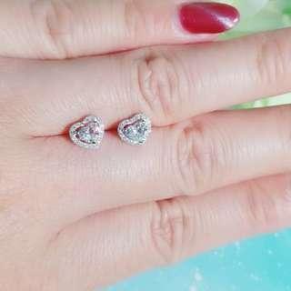 圍閃鑽 天然心形鑽石 耳環