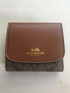 Coach small wallet signature coated canvas khaki/saddle