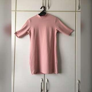 Pink High Neck Short Dress