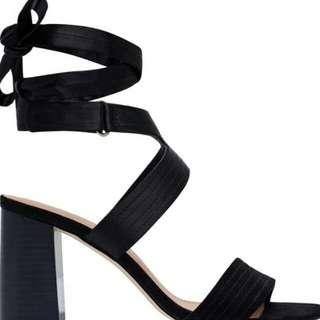 Black heels ankle tie sandals