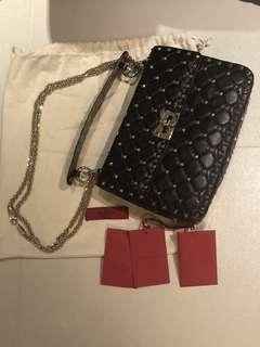Valentino Black leather bag rockstud spike