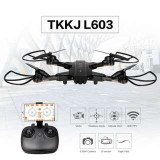 TKKJ L603 Folding Drone - FPV Camera, Optical Flow, Altitude Hold, Smartphone APP, Headless Mode, Gyro Flying (CVAIA-G887)
