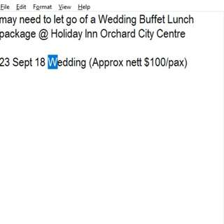 23 Sept 18 Wedding lunch package @ Holiday Inn Orchard City Centre (Approx nett $100/pax)