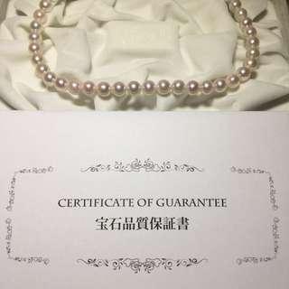 購自日本 AKOYA 天然粉紅珍珠頸鍊 絕對美品 附保證書 只有一條