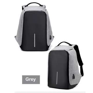 Anti-theft USB Port Travel Laptop Waterproof Backpack (Grey)