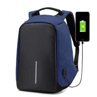Anti-theft USB Port Travel Laptop Waterproof Backpack (Navy)