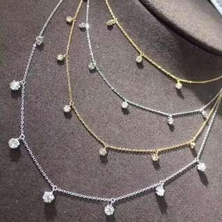 日本進口珠寶💎18k白金黃金50分1卡天然鑽石頸鏈✨日常百搭
