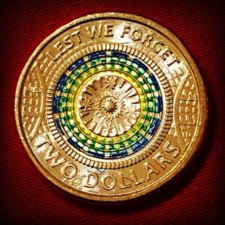 2017 Australia Remembrance Day Coloured $2 Coin - Lest We Forget