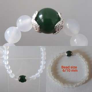 Jade Bracelet. White with Green Nephrite jade + silver spacer.