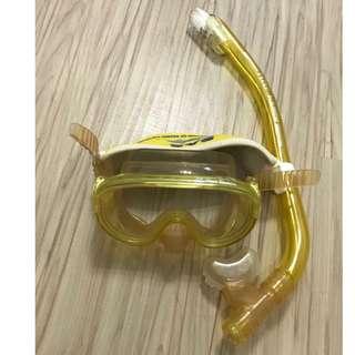 浮潛 海灘 潛水 黃色 面鏡 呼吸管 6成新