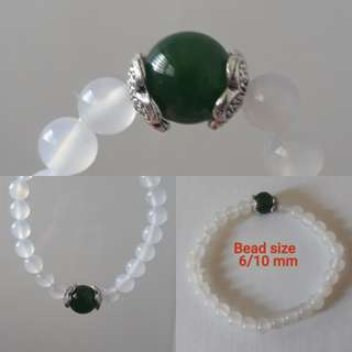 Jade Bracelet. White with Green Nephrite jade + silver spacer.