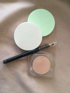 2 Sponge Miniso (new) + Maybelline Fashion Brow (used) + Two Way Cake Wardah (new)
