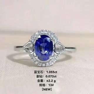 18K白金鑽石藍宝石戒指