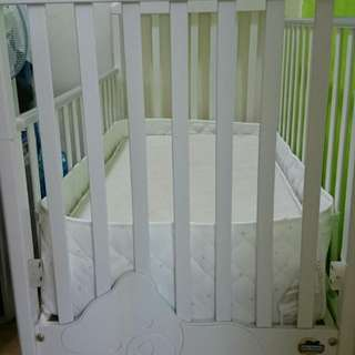 Baby crib/cot with matress and ikea bumper pad for sale 1 month used
