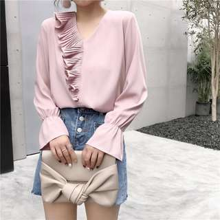 INSTOCK Pink Pleated Ruffle Blouse
