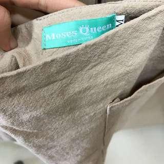 正韓 杏色棉麻短裙