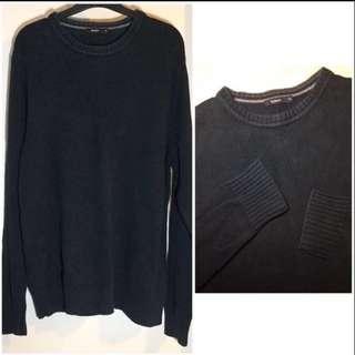 Bossini black knitted pullover  黑色 針織 圓領 毛衣 冷衫