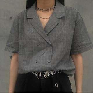 iDid 雙排扣格子短襯衫