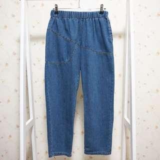 縫線剪裁設計感單邊口袋鬆緊腰大尺碼寬鬆顯瘦牛仔丹寧九分長褲-藍XXL