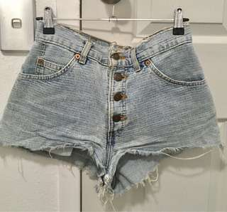 Vintage Levis High Waist Distressed Cheeky Shorts