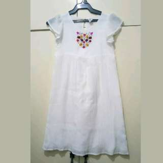 GA52 Zara for Kids Off White Dress Age 9 to 10 (Excellent Condition)