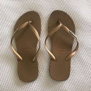 Gold Havaianas Size 5-6