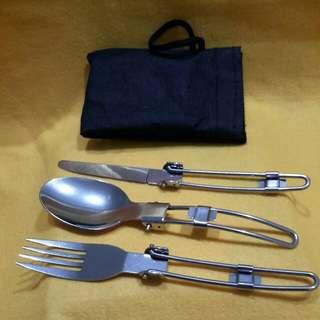 Travel Cutlery Set ( fork spoon n knife  stainless steel,  foldable )