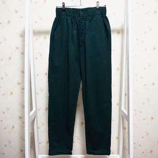 🚚 FE'CHA硬挺材質卡其布高腰鬆緊腰寬鬆休閒哈倫長褲-墨綠S