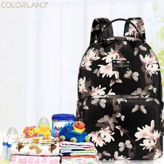 < PRE ORDER> Colorland Trendy Insulation PU Leather Mummy Daddy Baby Diaper Bottles Organiser Bag Pack