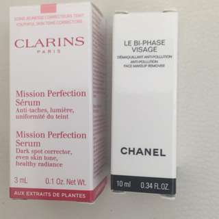 Clarins and Chanel Samples (Brand New)