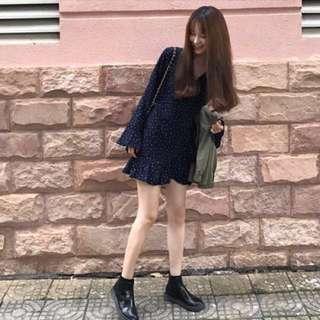 (BNWT) Ulzzang Korean Style Navy Pokla Dot Wrap Dress with Ruffles Sleeves size S