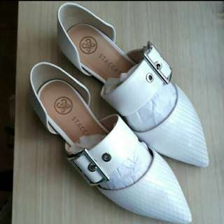 Staccato White Flat Shoes