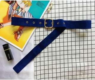 Oversized Suede Waist Belt (Navy)