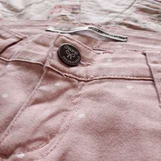 White Polka-dotted Pink Jeans