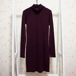 FOREVER 21性感素面高領彈性棉質緊身顯瘦長版T恤連身裙洋裝-紫红S