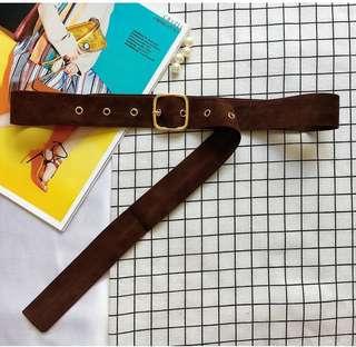 Oversized Suede Waist Belt (Dark Brown)