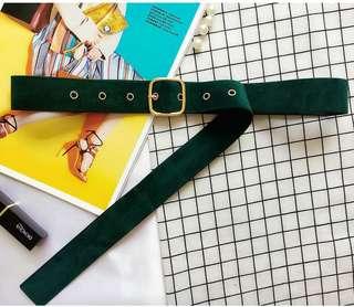Oversized Suede Waist Belt (Forest Green)